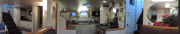 Panoramo of the Coastal Messenger aft cabin and galley.